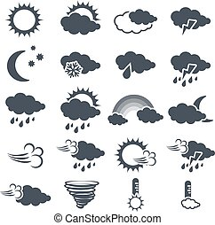 símbolos, Conjunto, gris, pronóstico, Oscuridad, vector,...