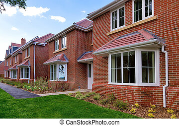 Row of empty new houses - Photo of a row of brand new empty...