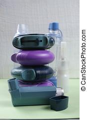 Asthma, allergie, illness relief concept, salbutamol inhalers