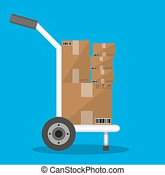 Metallic hand truck with boxes