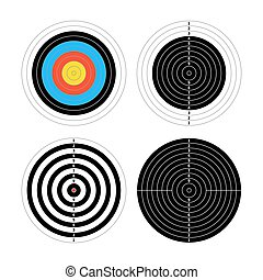 Set of four different targets for shooting practice on white