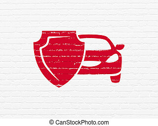 Insurance concept: Car And Shield on wall background -...