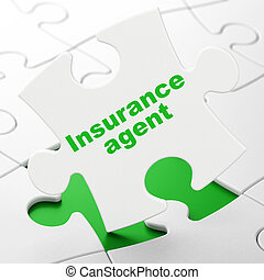 Insurance concept: Insurance Agent on puzzle background -...