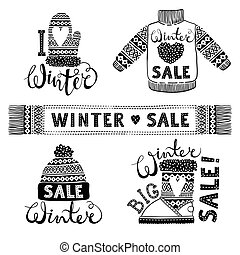 Set drawings knitted woolen clothing and footwear. Sweater, hat, mitten, boot, scarf, lettering. Winter sale shopping concept to design banners, price or label.