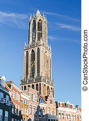 Utrecht. Ancient tower on a sunny day. - Quay Vismarkt and...