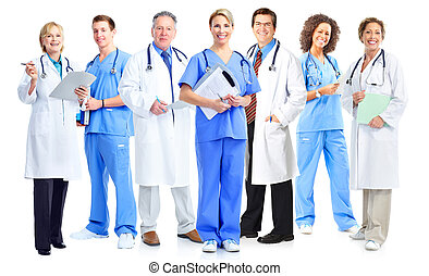 médico, enfermeiras, Grupo, doutores