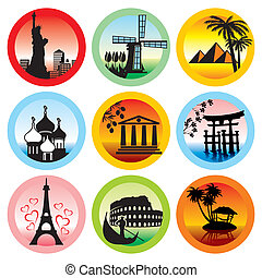 travel landmarks - set of vector icons for travel to various...