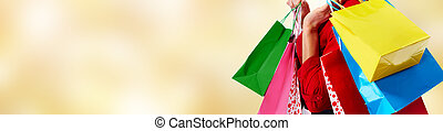 Woman with shopping bags. - Customer woman with shopping...