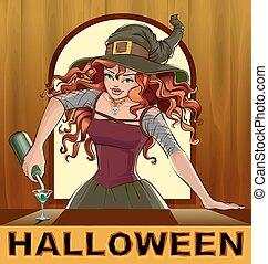 Redhead beautiful pretty witch girl