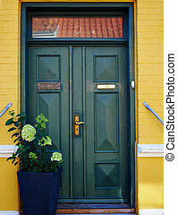 Traditional colorful front door Denmark - Traditional...