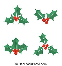 Christmas holly berry icons Vector illustration