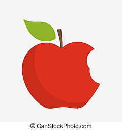 Bitten apple vector - Red bitten apple with leaf. Vector...