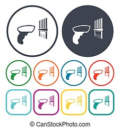 Illustration of bar code icon in pattern style isolated on...