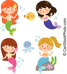 cartoon cute mermaids