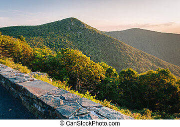 View of Hawksbill Mountain from Crescent Rock Overlook on Skyline Drive, in Shenandoah National Park, Virginia.