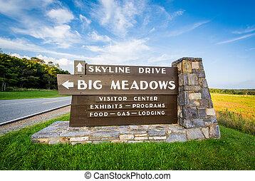 Sign for Big Meadows, along Skyline Drive, in Shenandoah National Park, Virginia.