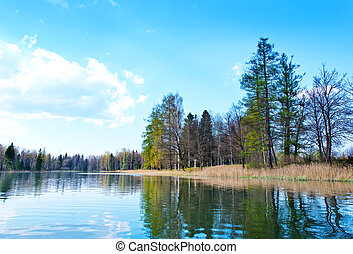 River and sky, summer river and blue sky