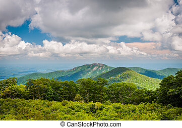 View of Old Rag Mountain from Thoroughfare Overlook, on Skyline Drive, in Shenandoah National Park, Virginia.