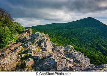 View of Hawksbill Mountain from Crescent Rock in Shenandoah National Park, Virginia.
