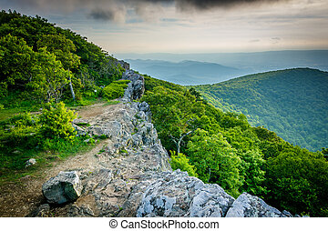 View of the Blue Ridge Mountains from Hawksbill Summit, in...