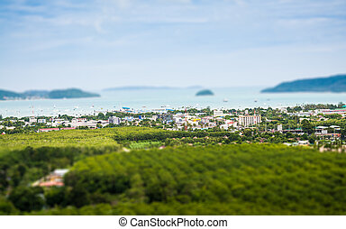 Tilt shift of chalong bay view from mountain, Phuket,...