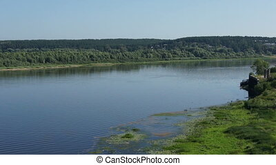 panoramic view on russian river with forest - panoramic view...