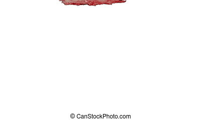 red liquid pouring on white in slow motion. Colored paint -...