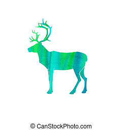 Watercolor style deer silhouette isolated on white. - deer...
