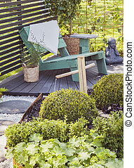 Tranquil garden seating area
