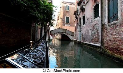 Sail on gondola along column