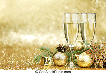 Champagne and  decorations