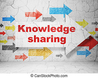Learning concept: arrow with Knowledge Sharing on grunge wall background