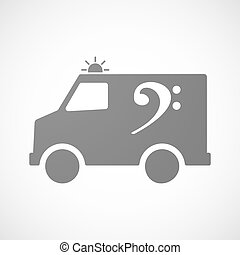 Isolated ambulance icon with an F clef