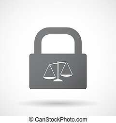 Isolated lock pad icon with  an unbalanced weight scale