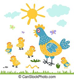Funny vector cartoon colorfull hen and chicks isolated...