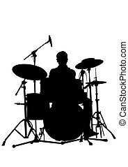 Drum kit on white - Drum kit for rock band on a white...