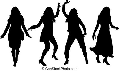 hermoso, bailando, mujeres