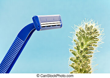 Lets have a shave - Blue safety shave and green spiny cactus...