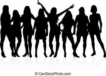 Large group of women - silhouette vector.