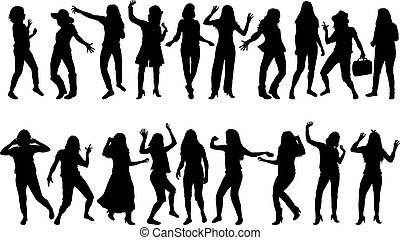 Beautiful women dancing.Concep silhouete.