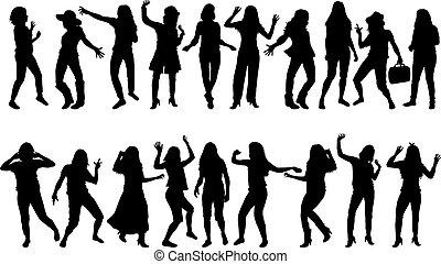 Beautiful women dancing.Concep silhouete.