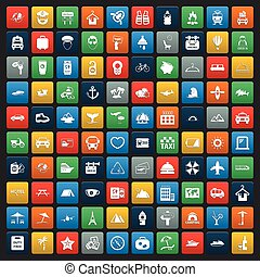 vacation 100 icons set for web flat