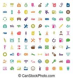 car repair 100  icons set for web