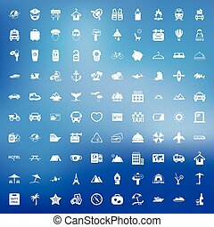 vacation 100 icons set for web