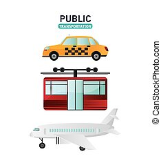 Public Transportation vehicles design - Taxi cable car and...
