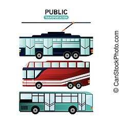 Public Transportation vehicles design - Bus and trolley...