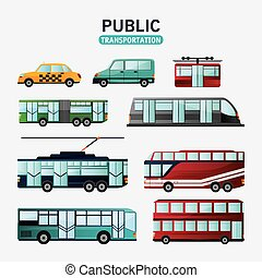 Public Transportation vehicles design - Bus cable car train...