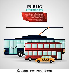 Public Transportation vehicles design - Bus trolley and taxi...