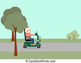 Eldery woman on the road