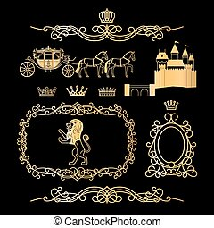 Golden vintage royal elements